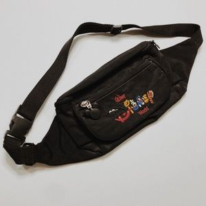 • VINTAGE DISNEY • embroidered black fanny pack